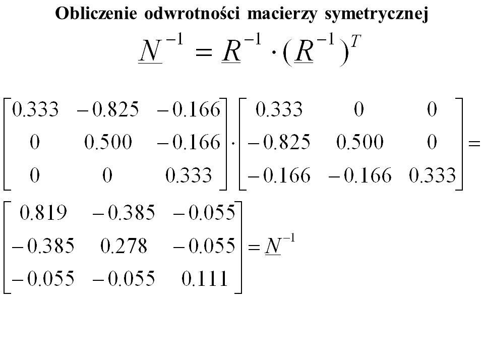 Obliczenie odwrotności macierzy symetrycznej
