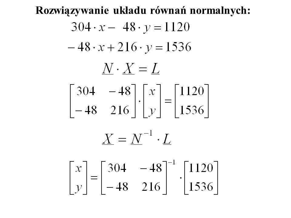 Rozwiązywanie układu równań normalnych: