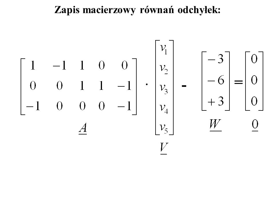 Układ równań odchyłek: Tabela równań odchyłek: