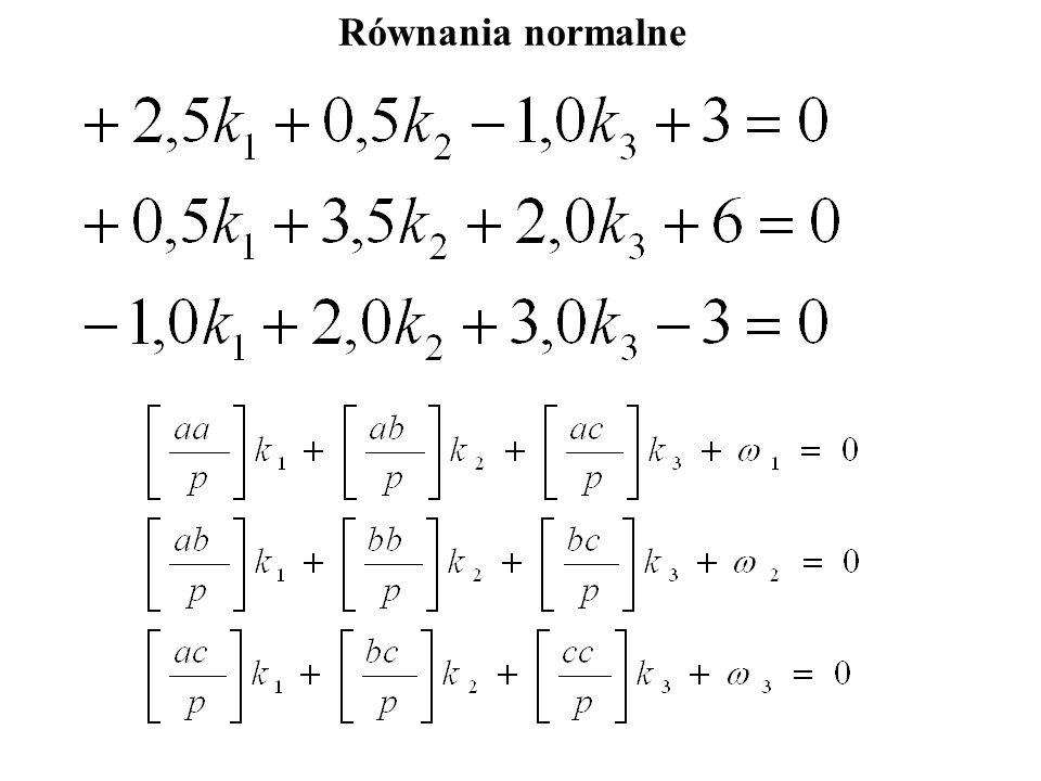 Zapis macierzowy równań odchyłek:. - =