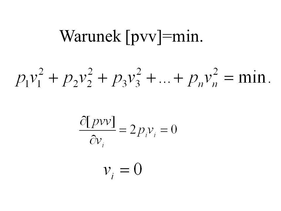 Zapis macierzowy równań odchyłek: AVW0. - =