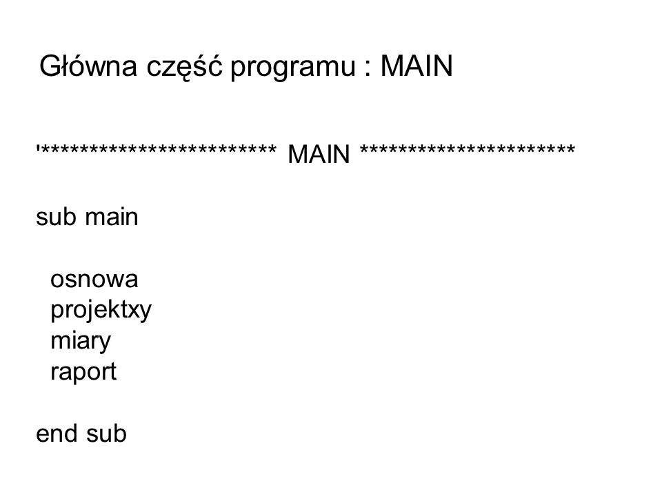 Główna część programu : MAIN '************************ MAIN ********************** sub main osnowa projektxy miary raport end sub