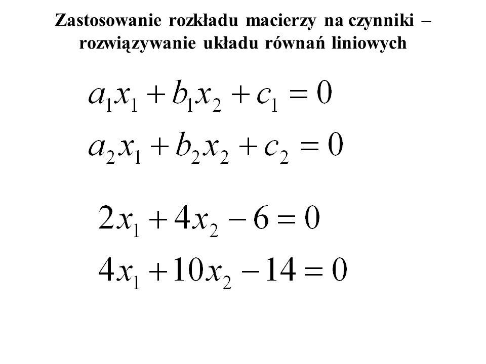 Rozkład macierzy na czynniki trójkątne = wzory: