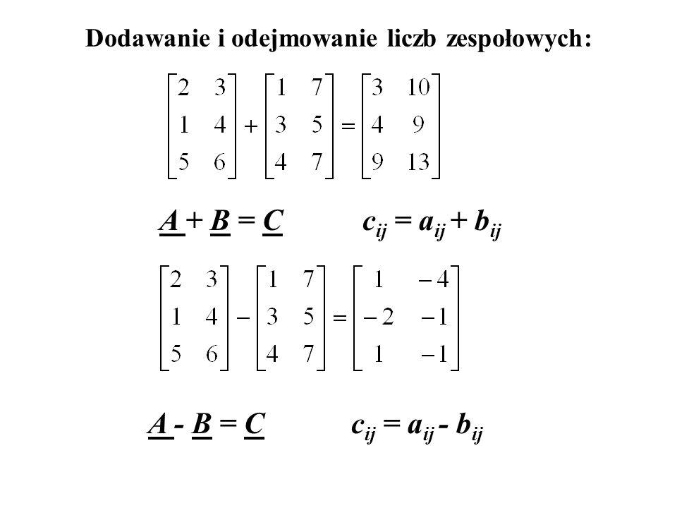 Definicja macierzy Macierz to układ m n liczb rozmieszczonych w m wierszach i n kolumnach. Macierze i krakowiany to liczby zespołowe.