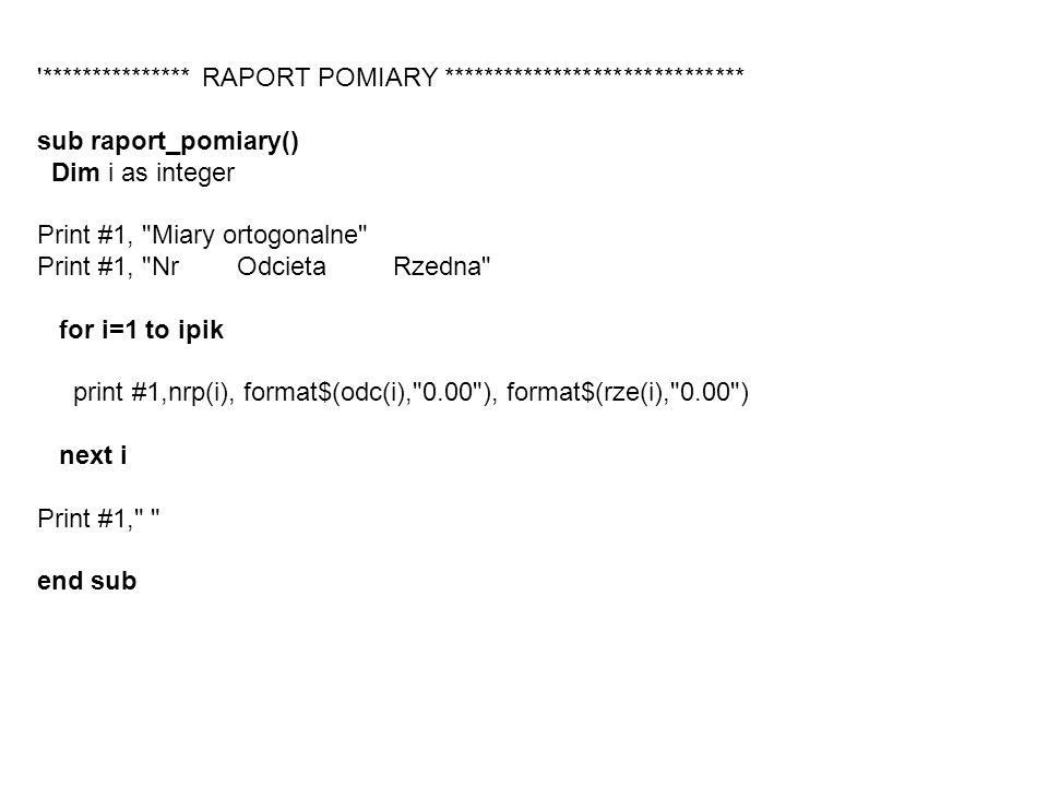 '*************** RAPORT POMIARY ****************************** sub raport_pomiary() Dim i as integer Print #1,