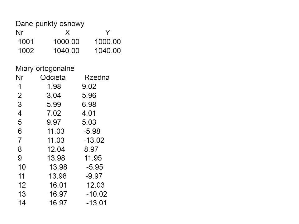 Dane punkty osnowy Nr X Y 1001 1000.00 1000.00 1002 1040.00 1040.00 Miary ortogonalne Nr Odcieta Rzedna 1 1.98 9.02 2 3.04 5.96 3 5.99 6.98 4 7.02 4.0