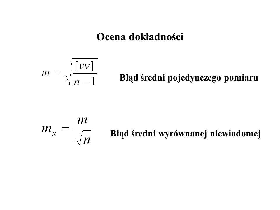 Ocena dokładności Błąd średni pojedynczego pomiaru Błąd średni wyrównanej niewiadomej