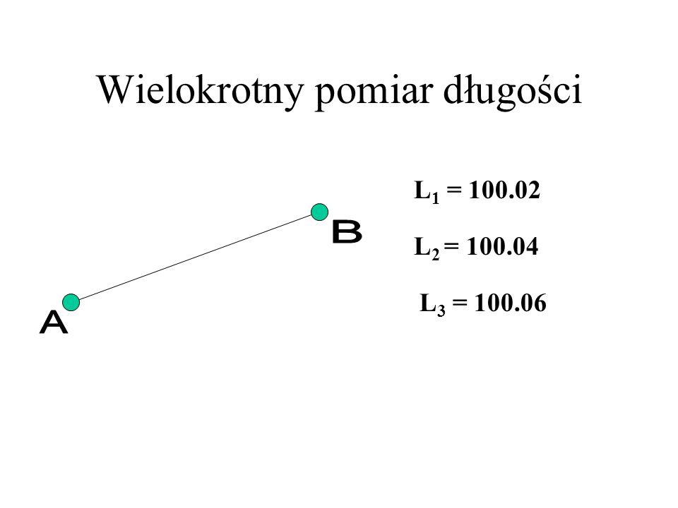 Podstawowe wzory L 1 + v 1 = x L 2 + v 2 = x L 3 + v 3 = x [vv] = v 1 2 + v 2 2 + v 3 2 [vv] = min.