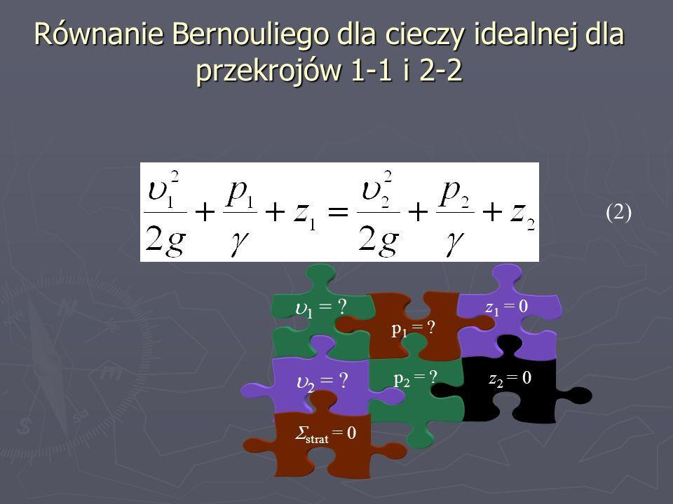 Równanie Bernouliego dla cieczy idealnej dla przekrojów 1-1 i 2-2 z 2 = 0 p 2 = ? 2 = ? p 1 = ? z 1 = 0 1 = ? (2) strat = 0