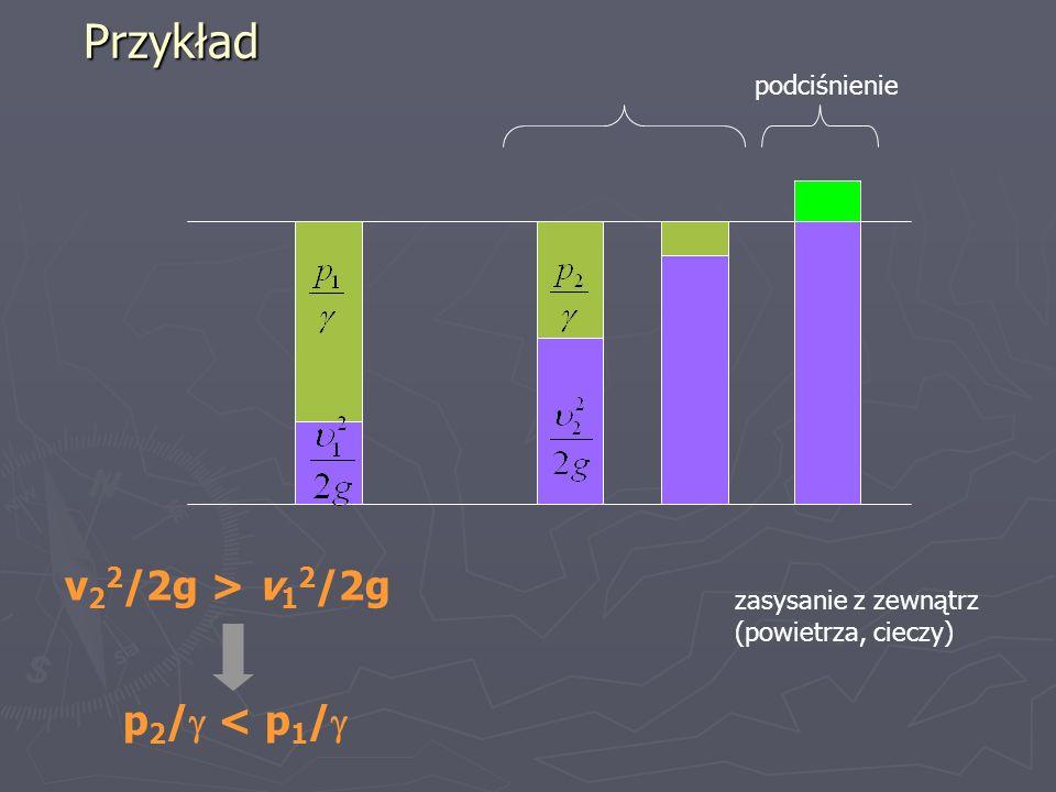 Przykład v 2 2 /2g > v 1 2 /2g p 2 / < p 1 / podciśnienie zasysanie z zewnątrz (powietrza, cieczy)