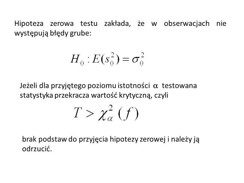 Hipoteza zerowa testu zakłada, że w obserwacjach nie występują błędy grube: Jeżeli dla przyjętego poziomu istotności testowana statystyka przekracza wartość krytyczną, czyli brak podstaw do przyjęcia hipotezy zerowej i należy ją odrzucić.