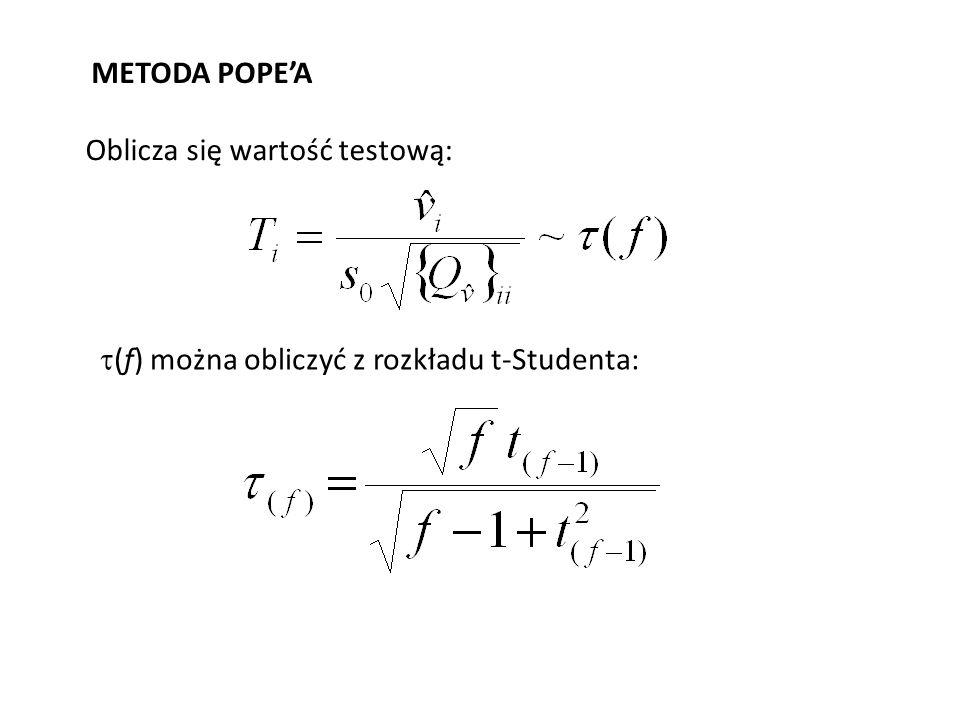 METODA POPEA Oblicza się wartość testową: (f) można obliczyć z rozkładu t-Studenta: