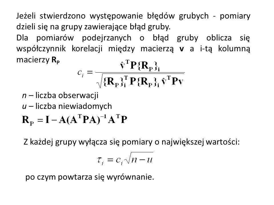 n – liczba obserwacji u – liczba niewiadomych Jeżeli stwierdzono występowanie błędów grubych - pomiary dzieli się na grupy zawierające błąd gruby. Dla