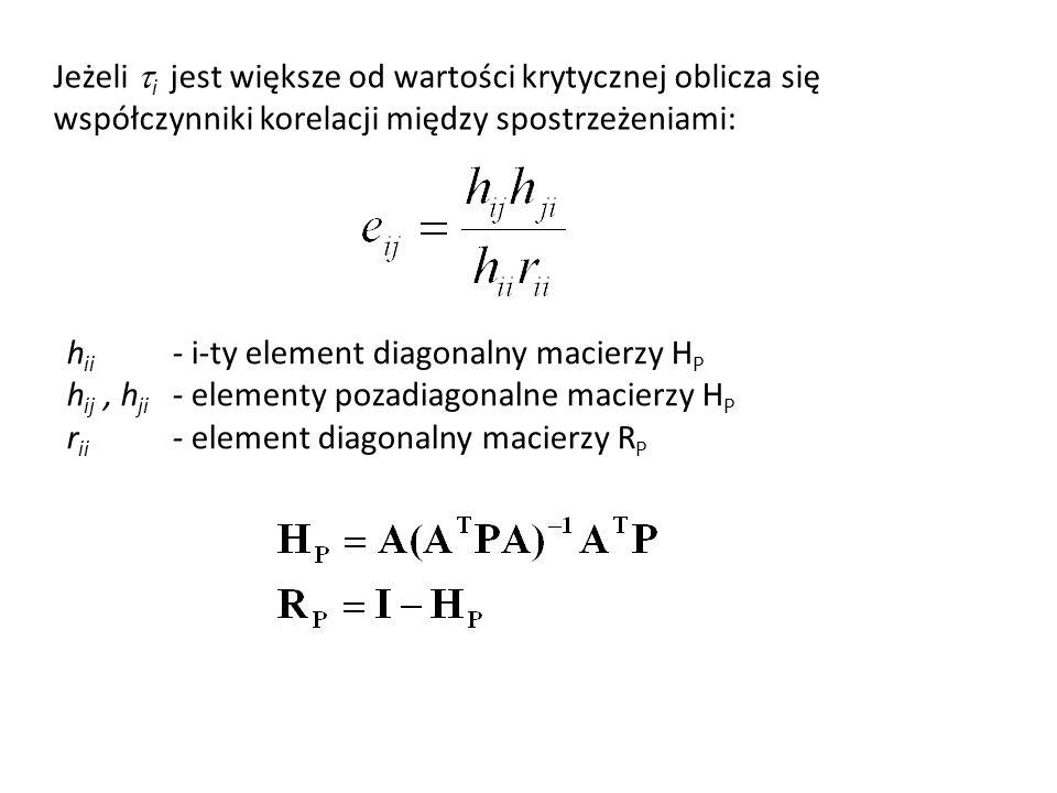 Jeżeli i jest większe od wartości krytycznej oblicza się współczynniki korelacji między spostrzeżeniami: h ii - i-ty element diagonalny macierzy H P h ij, h ji - elementy pozadiagonalne macierzy H P r ii - element diagonalny macierzy R P