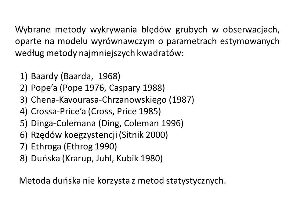 Wybrane metody wykrywania błędów grubych w obserwacjach, oparte na modelu wyrównawczym o parametrach estymowanych według metody najmniejszych kwadratów: 1)Baardy (Baarda, 1968) 2)Popea (Pope 1976, Caspary 1988) 3)Chena-Kavourasa-Chrzanowskiego (1987) 4)Crossa-Pricea (Cross, Price 1985) 5)Dinga-Colemana (Ding, Coleman 1996) 6)Rzędów koegzystencji (Sitnik 2000) 7)Ethroga (Ethrog 1990) 8)Duńska (Krarup, Juhl, Kubik 1980) Metoda duńska nie korzysta z metod statystycznych.