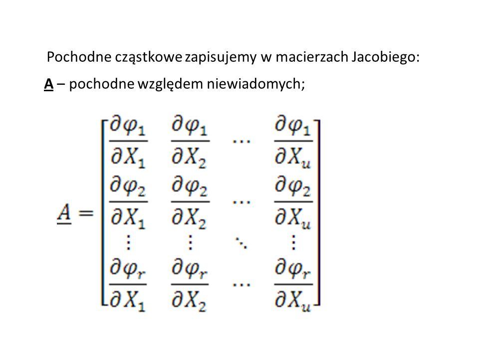 Pochodne cząstkowe zapisujemy w macierzach Jacobiego: A – pochodne względem niewiadomych;