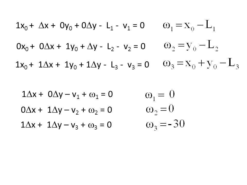 1x 0 + x + 0y 0 + 0 y - L 1 - v 1 = 0 0x 0 + 0 x + 1y 0 + y - L 2 - v 2 = 0 1x 0 + 1 x + 1y 0 + 1 y - L 3 - v 3 = 0 1 x + 0 y – v 1 + 1 = 0 0 x + 1 y