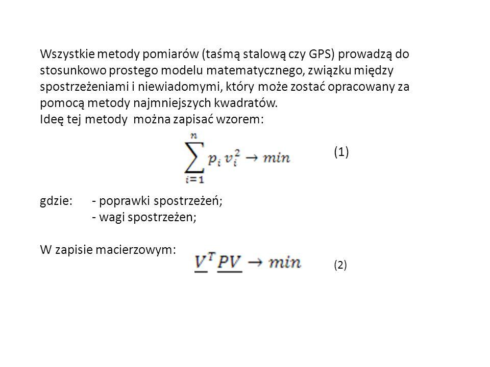 Wszystkie metody pomiarów (taśmą stalową czy GPS) prowadzą do stosunkowo prostego modelu matematycznego, związku między spostrzeżeniami i niewiadomymi