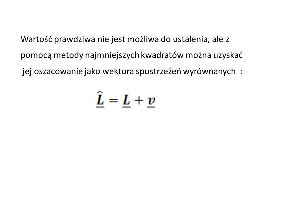 Wartość prawdziwa nie jest możliwa do ustalenia, ale z pomocą metody najmniejszych kwadratów można uzyskać jej oszacowanie jako wektora spostrzeżeń wy