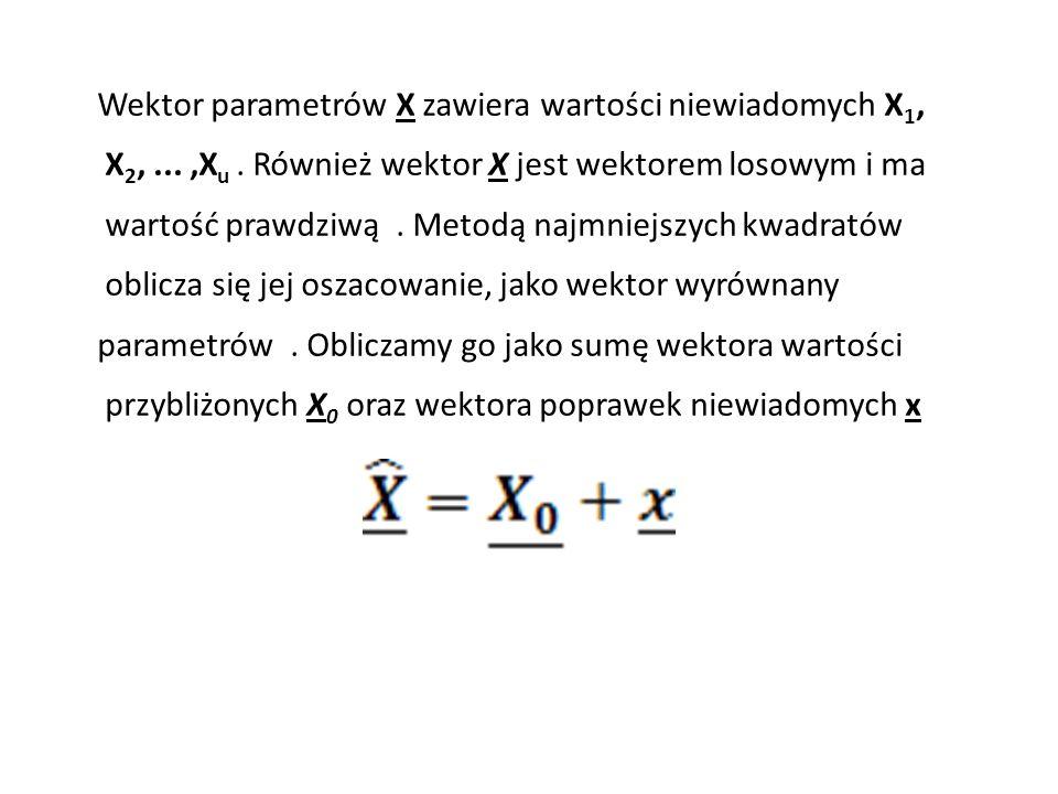 Wektor parametrów X zawiera wartości niewiadomych X 1, X 2,...,X u. Również wektor X jest wektorem losowym i ma wartość prawdziwą. Metodą najmniejszyc