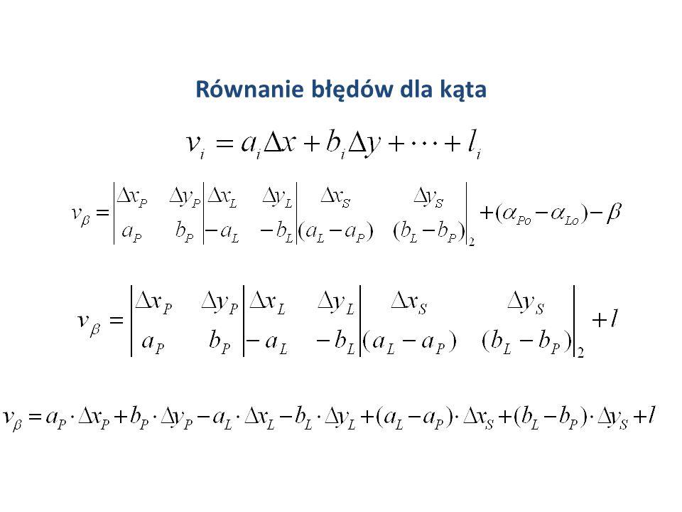 Równanie kąta S L P x P L
