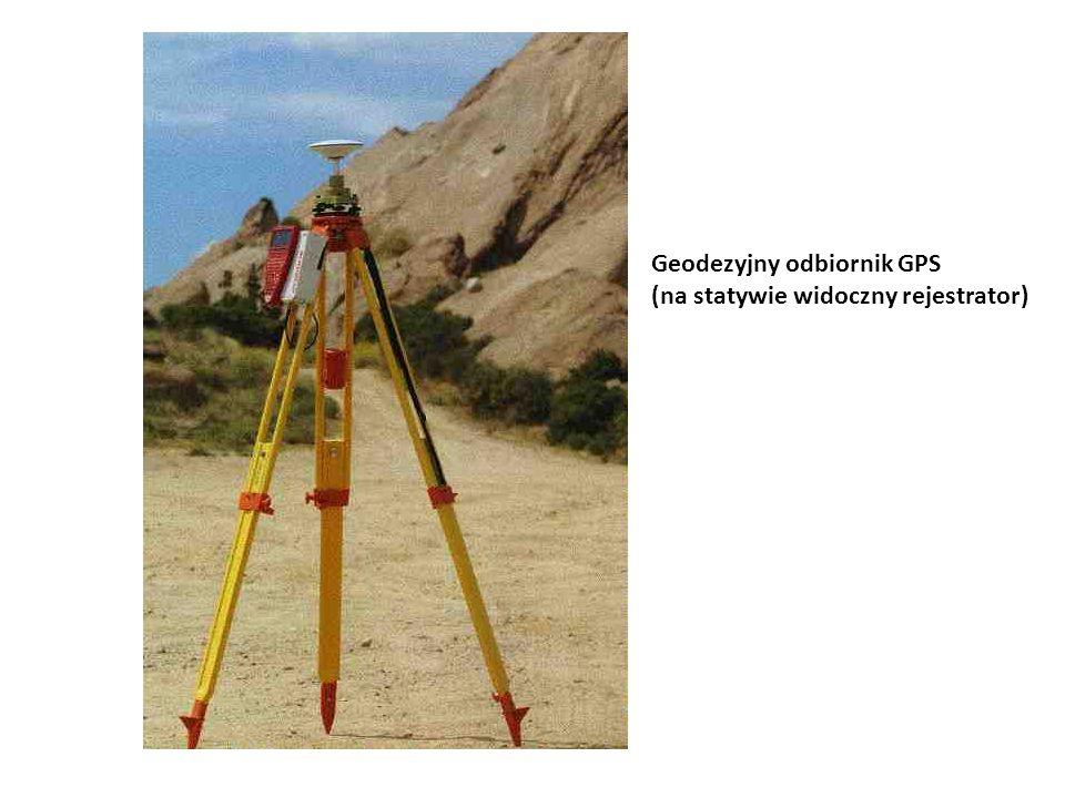Geodezyjny odbiornik GPS (na statywie widoczny rejestrator)