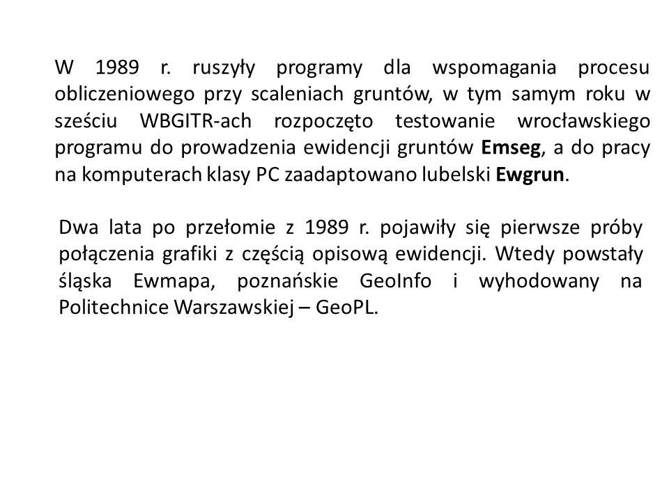 W 1989 r. ruszyły programy dla wspomagania procesu obliczeniowego przy scaleniach gruntów, w tym samym roku w sześciu WBGITR-ach rozpoczęto testowanie