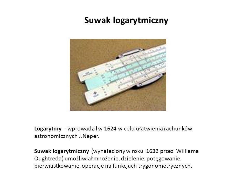 Suwak logarytmiczny Logarytmy - wprowadził w 1624 w celu ułatwienia rachunków astronomicznych J.Neper. Suwak logarytmiczny (wynaleziony w roku 1632 pr