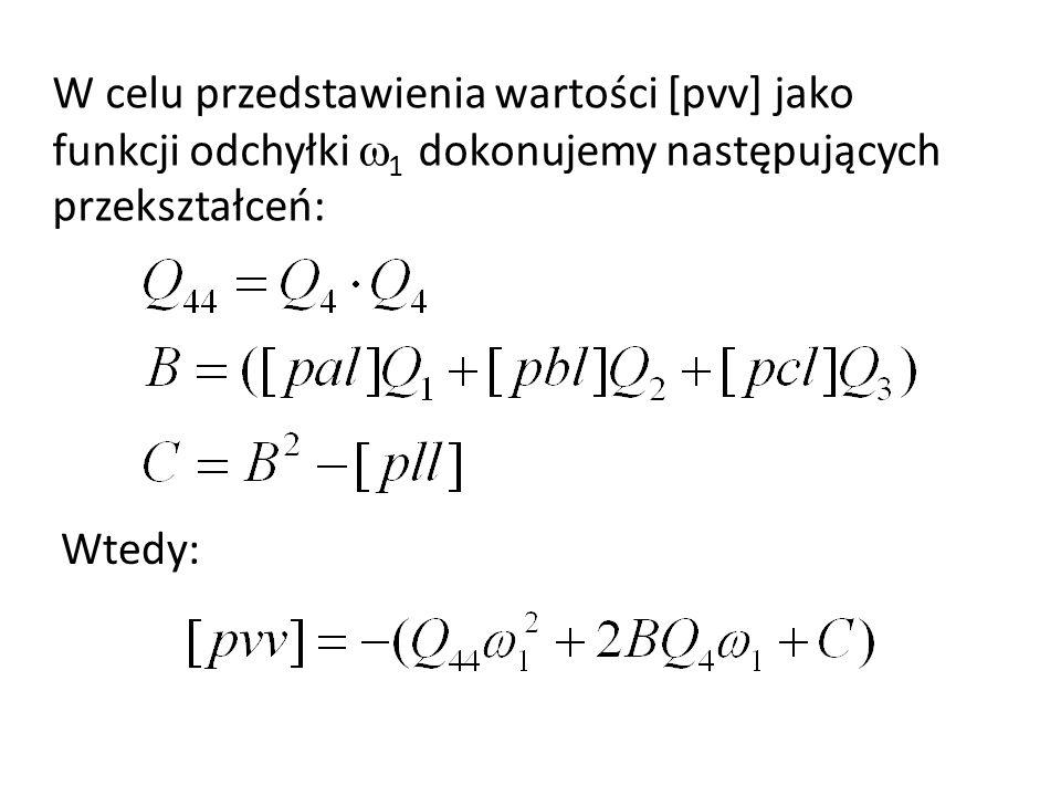W celu przedstawienia wartości [pvv] jako funkcji odchyłki 1 dokonujemy następujących przekształceń: Wtedy: