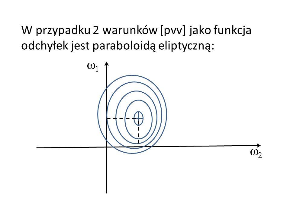W przypadku 2 warunków [pvv] jako funkcja odchyłek jest paraboloidą eliptyczną: