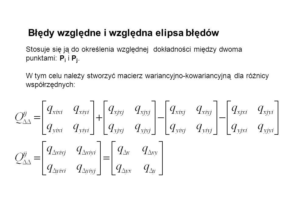 Błędy względne i względna elipsa błędów Stosuje się ją do określenia względnej dokładności między dwoma punktami: P i i P j. W tym celu należy stworzy