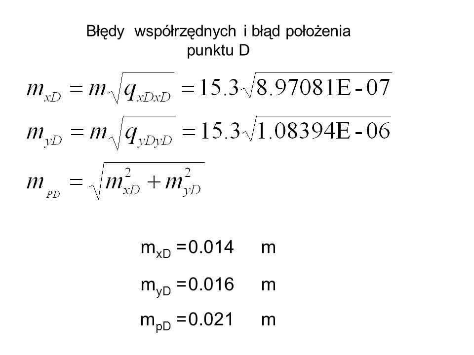Błędy współrzędnych i błąd położenia punktu D m xD =0.014m m yD =0.016m m pD =0.021m