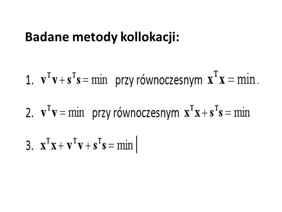 Badane metody kollokacji: