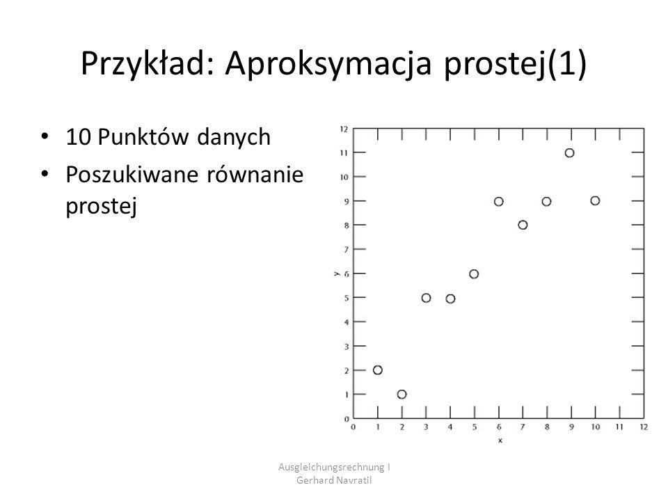 Ausgleichungsrechnung I Gerhard Navratil Przykład: Aproksymacja prostej(2) Założenie: Każdy punkt spełnia równanie prostej