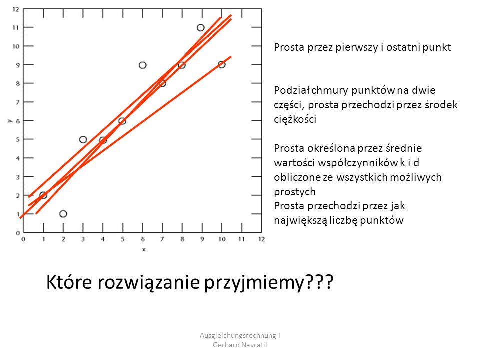 Ausgleichungsrechnung I Gerhard Navratil Przykład: Aproksymacja prostej(6) Ax = l + v v = Ax - l Dodatkowy warunek: