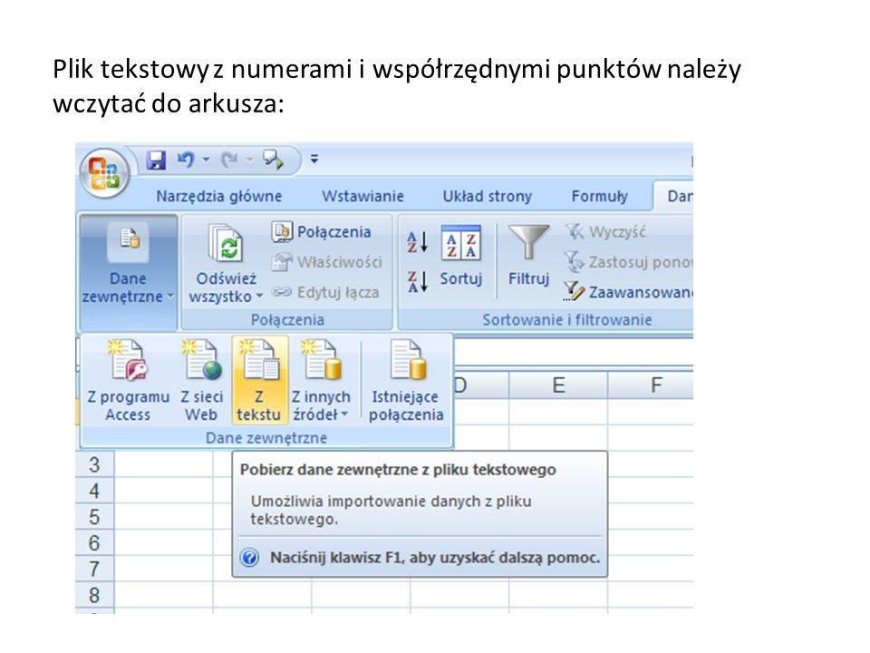 Plik tekstowy z numerami i współrzędnymi punktów należy wczytać do arkusza: