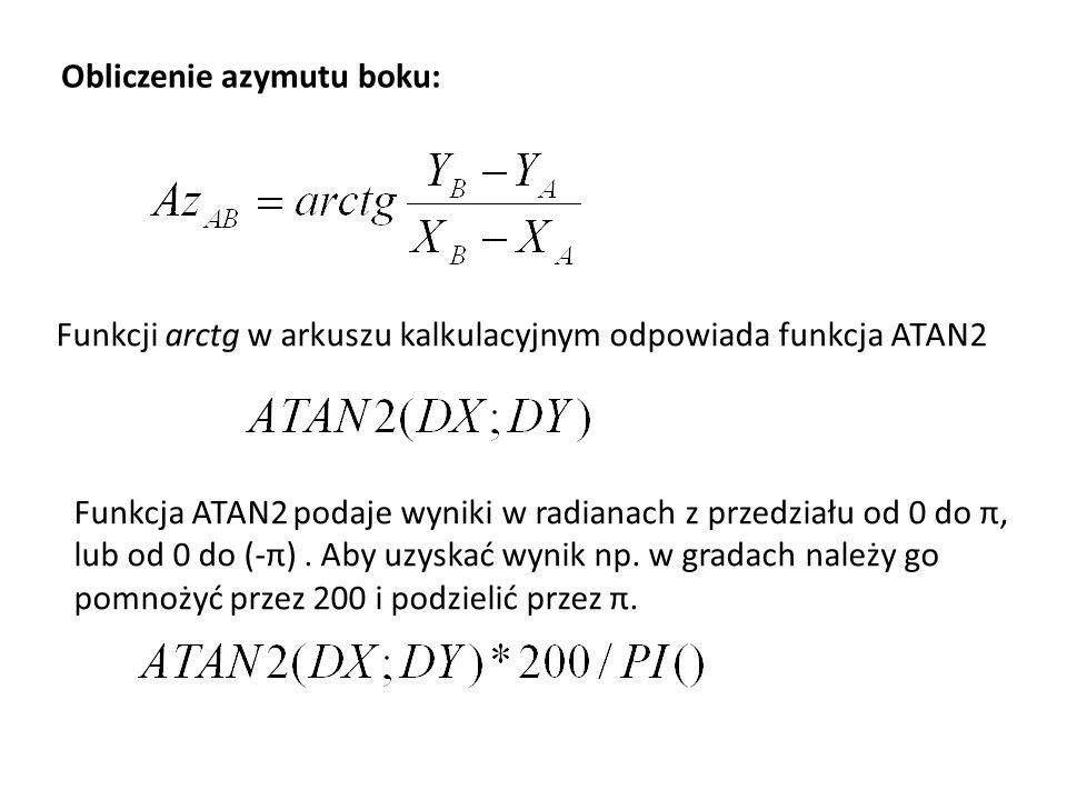 Obliczenie azymutu boku: Funkcji arctg w arkuszu kalkulacyjnym odpowiada funkcja ATAN2 Funkcja ATAN2 podaje wyniki w radianach z przedziału od 0 do π,