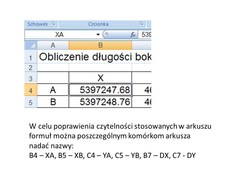 W celu poprawienia czytelności stosowanych w arkuszu formuł można poszczególnym komórkom arkusza nadać nazwy: B4 – XA, B5 – XB, C4 – YA, C5 – YB, B7 –