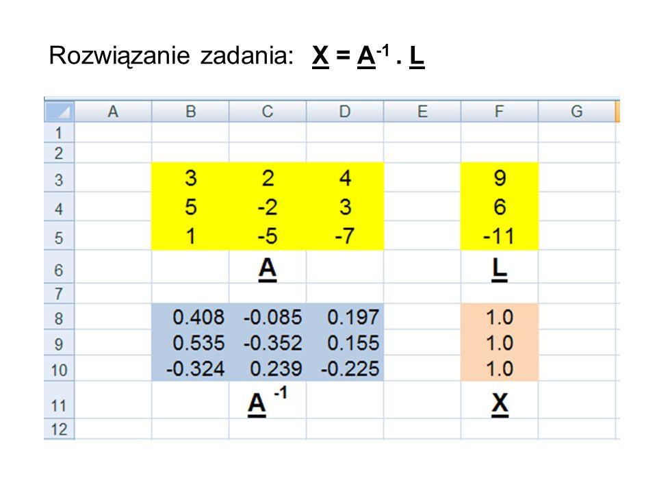 Rozwiązanie zadania: X = A -1. L