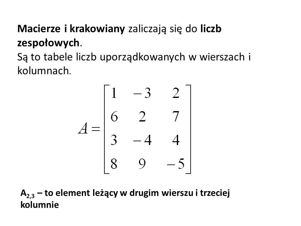 Macierze i krakowiany zaliczają się do liczb zespołowych. Są to tabele liczb uporządkowanych w wierszach i kolumnach. A 2,3 – to element leżący w drug
