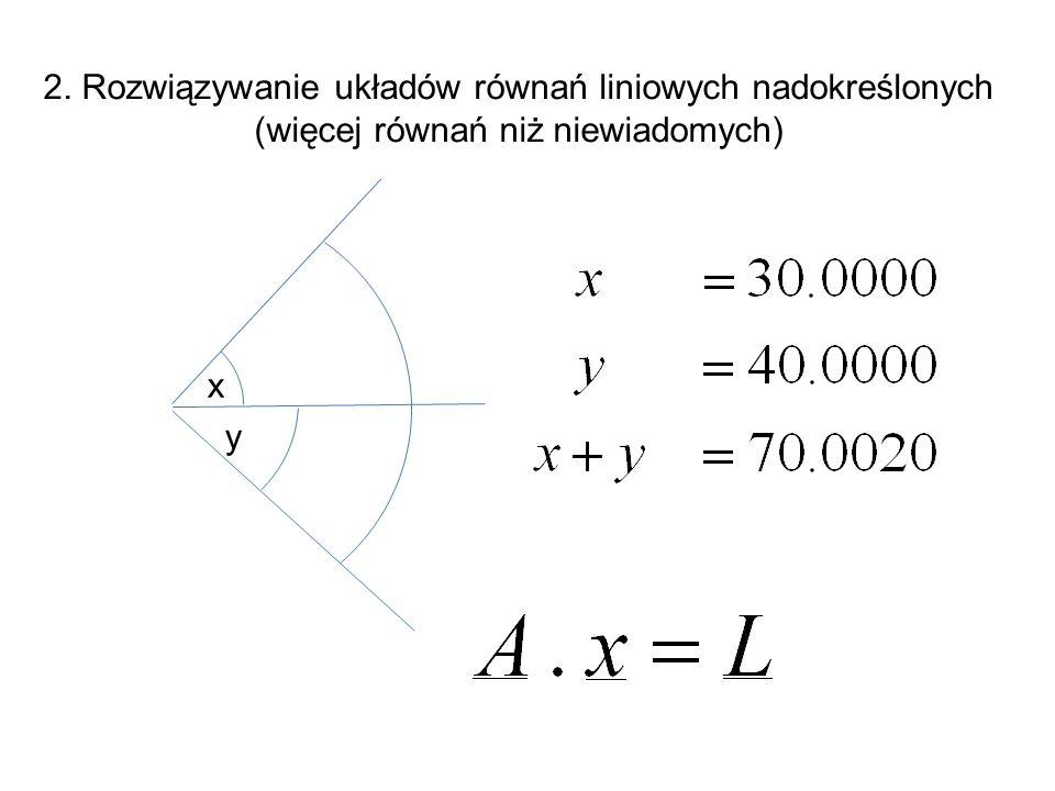 2. Rozwiązywanie układów równań liniowych nadokreślonych (więcej równań niż niewiadomych) y x
