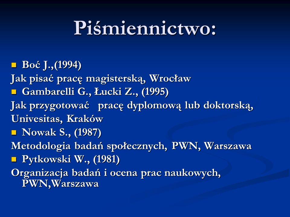 Piśmiennictwo: Boć J.,(1994) Boć J.,(1994) Jak pisać pracę magisterską, Wrocław Gambarelli G., Łucki Z., (1995) Gambarelli G., Łucki Z., (1995) Jak pr