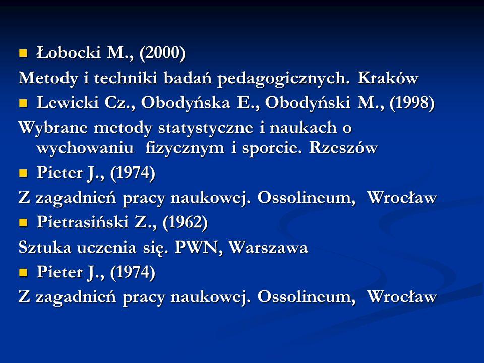Łobocki M., (2000) Łobocki M., (2000) Metody i techniki badań pedagogicznych. Kraków Lewicki Cz., Obodyńska E., Obodyński M., (1998) Lewicki Cz., Obod