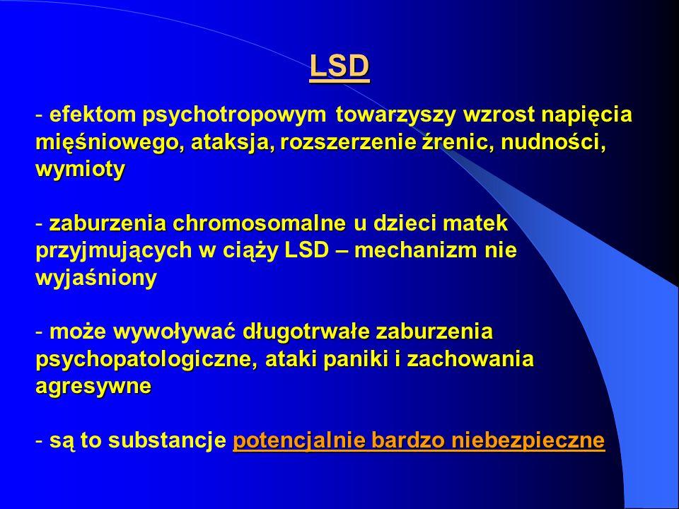 LSD napięcia mięśniowego, ataksja, rozszerzenie źrenic, nudności, wymioty - efektom psychotropowym towarzyszy wzrost napięcia mięśniowego, ataksja, ro
