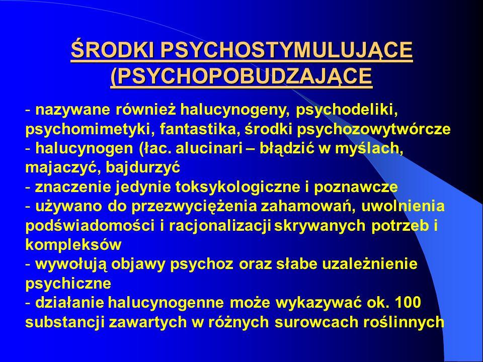 ŚRODKI PSYCHOSTYMULUJĄCE (PSYCHOPOBUDZAJĄCE - nazywane również halucynogeny, psychodeliki, psychomimetyki, fantastika, środki psychozowytwórcze - halu
