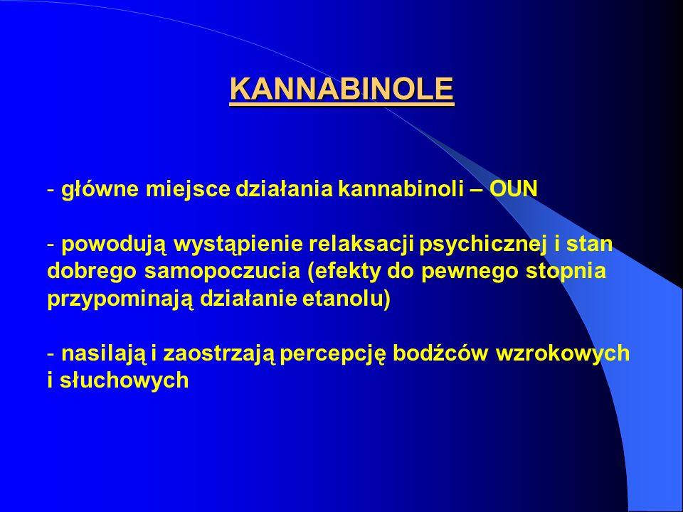 KANNABINOLE - główne miejsce działania kannabinoli – OUN - powodują wystąpienie relaksacji psychicznej i stan dobrego samopoczucia (efekty do pewnego