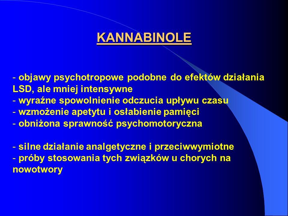 KANNABINOLE - objawy psychotropowe podobne do efektów działania LSD, ale mniej intensywne - wyraźne spowolnienie odczucia upływu czasu - wzmożenie ape