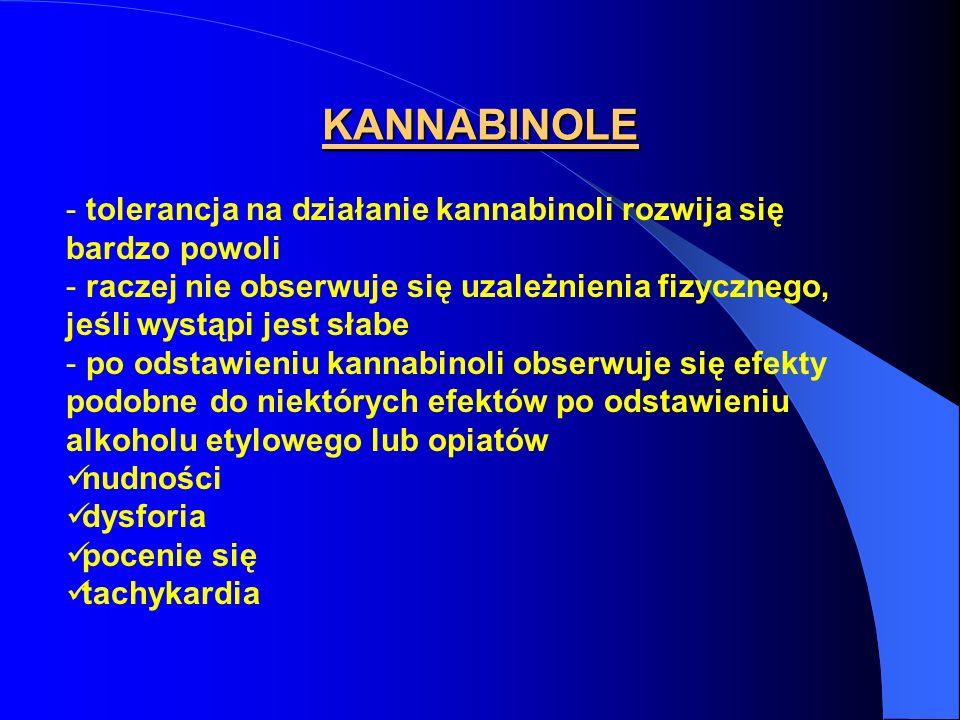 KANNABINOLE - tolerancja na działanie kannabinoli rozwija się bardzo powoli - raczej nie obserwuje się uzależnienia fizycznego, jeśli wystąpi jest sła