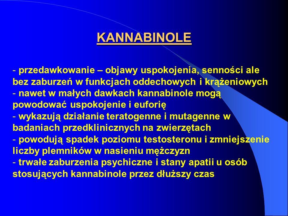 KANNABINOLE - przedawkowanie – objawy uspokojenia, senności ale bez zaburzeń w funkcjach oddechowych i krążeniowych - nawet w małych dawkach kannabino
