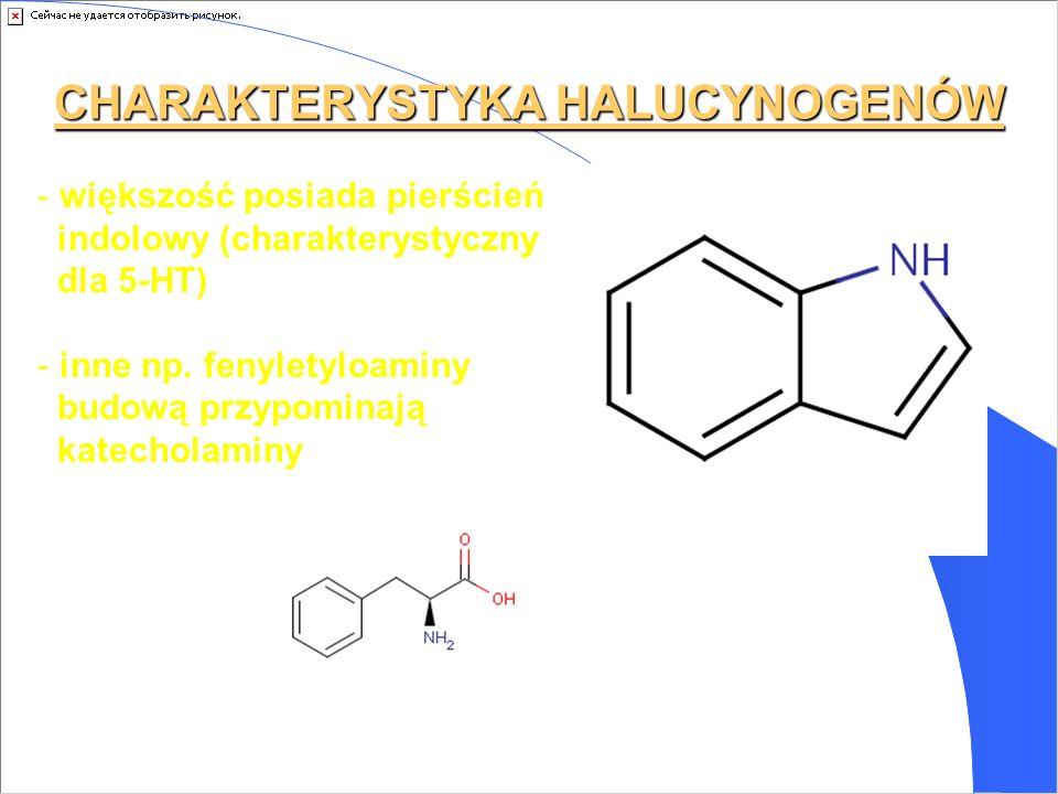 CHARAKTERYSTYKA HALUCYNOGENÓW - większość posiada pierścień indolowy (charakterystyczny dla 5-HT) - inne np. fenyletyloaminy budową przypominają katec